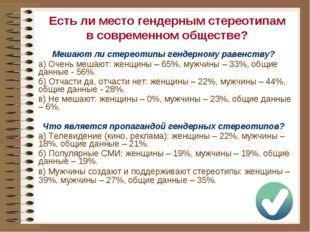 Мешают ли стереотипы гендерному равенству? a) Очень мешают: женщины – 65%, му