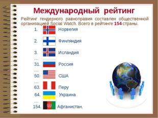 Международный рейтинг Рейтинг гендерного равноправия составлен общественной о