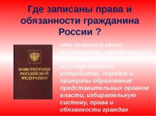 это основной закон государства, определяющий его общественное и государственн