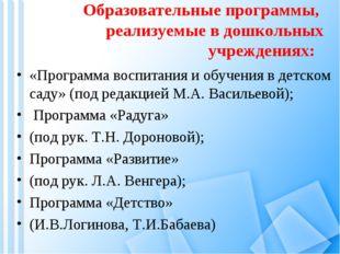 Образовательные программы, реализуемые в дошкольных учреждениях: «Программа в