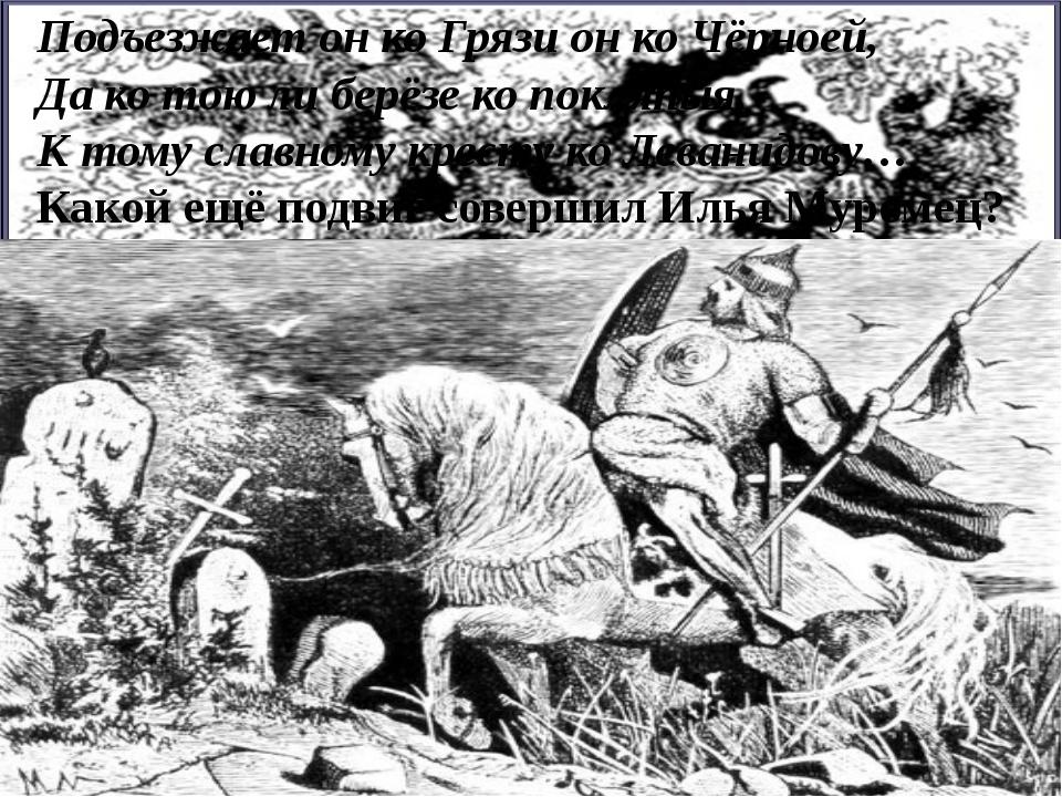 Подъезжает он ко Грязи он ко Чёрноей, Да ко тою ли берёзе ко покляпыя, К тому...