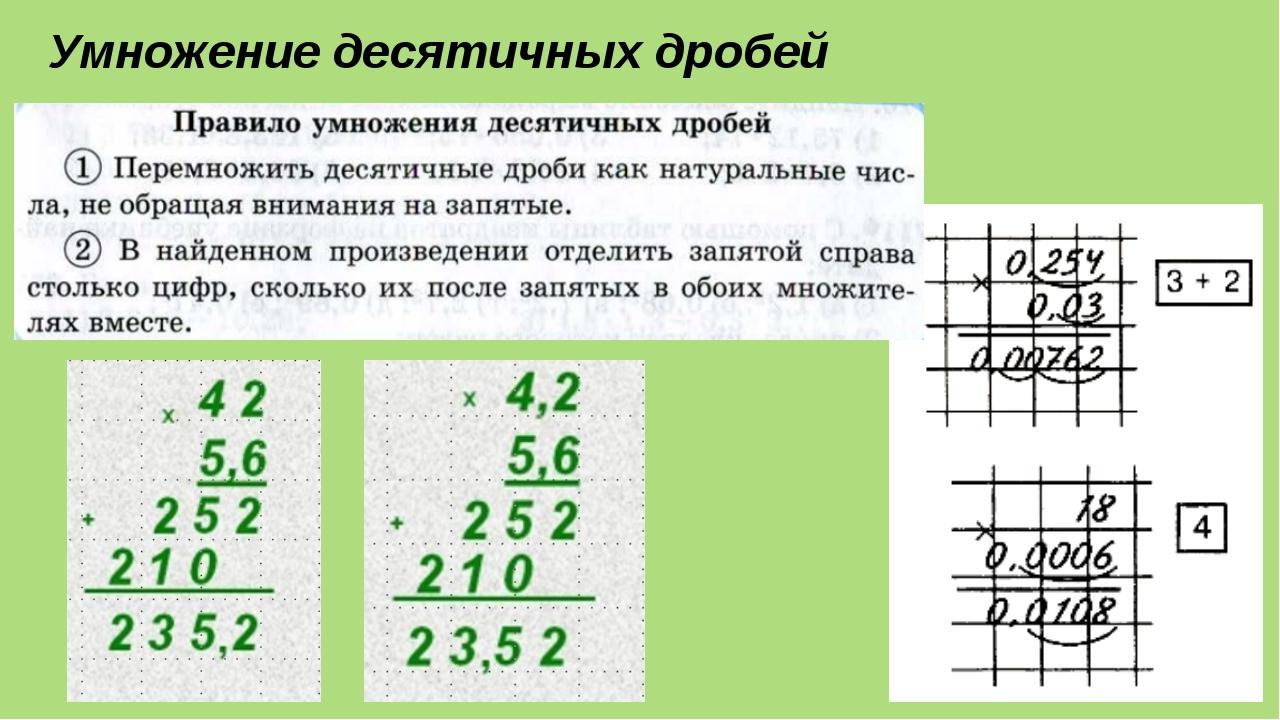 Умножение десятичных дробей