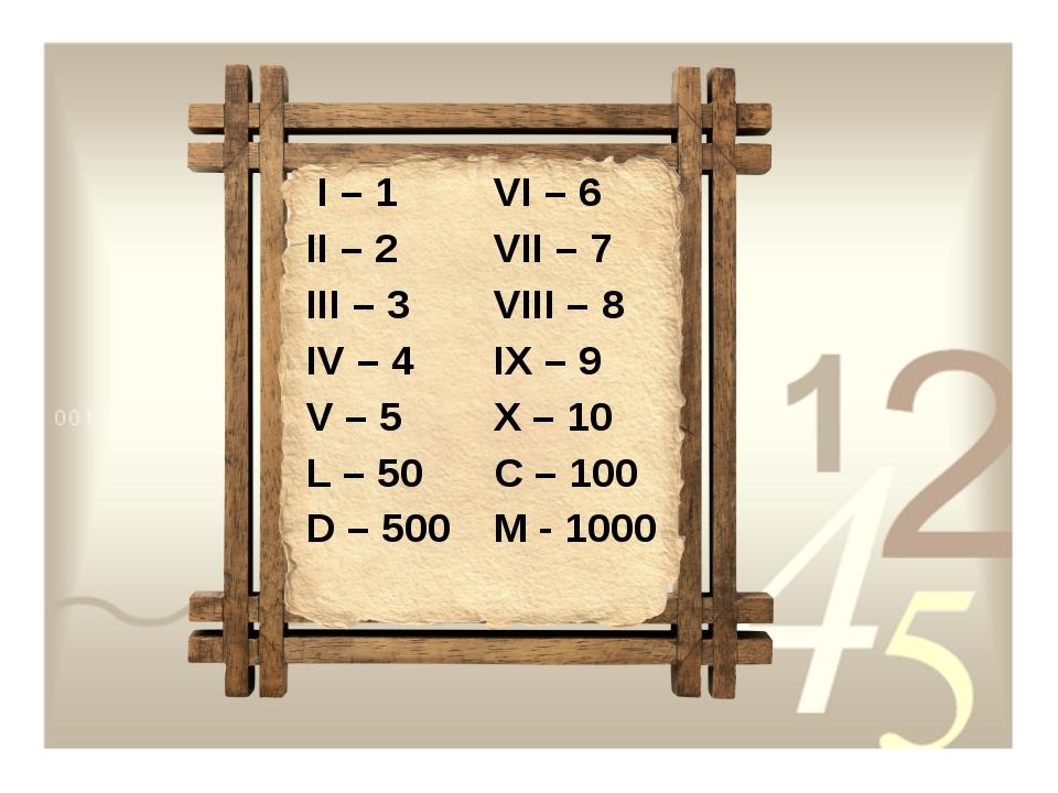 I – 1 II – 2 III – 3 IV – 4 V – 5 L – 50 D – 500 VI – 6 VII – 7 VIII – 8 IX...