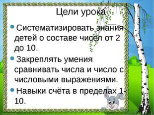 Цели урока Систематизировать знания детей о составе чисел от 2 до 10. Закрепл