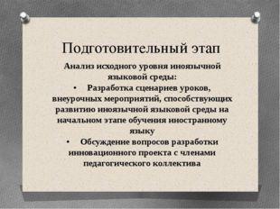 Подготовительный этап Анализ исходного уровня иноязычной языковой среды: •Ра