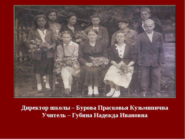 Директор школы – Бурова Прасковья Кузьминична Учитель – Губина Надежда Ивановна