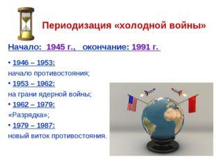 Периодизация «холодной войны» Начало: 1945 г., окончание: 1991 г. 1946 – 1953