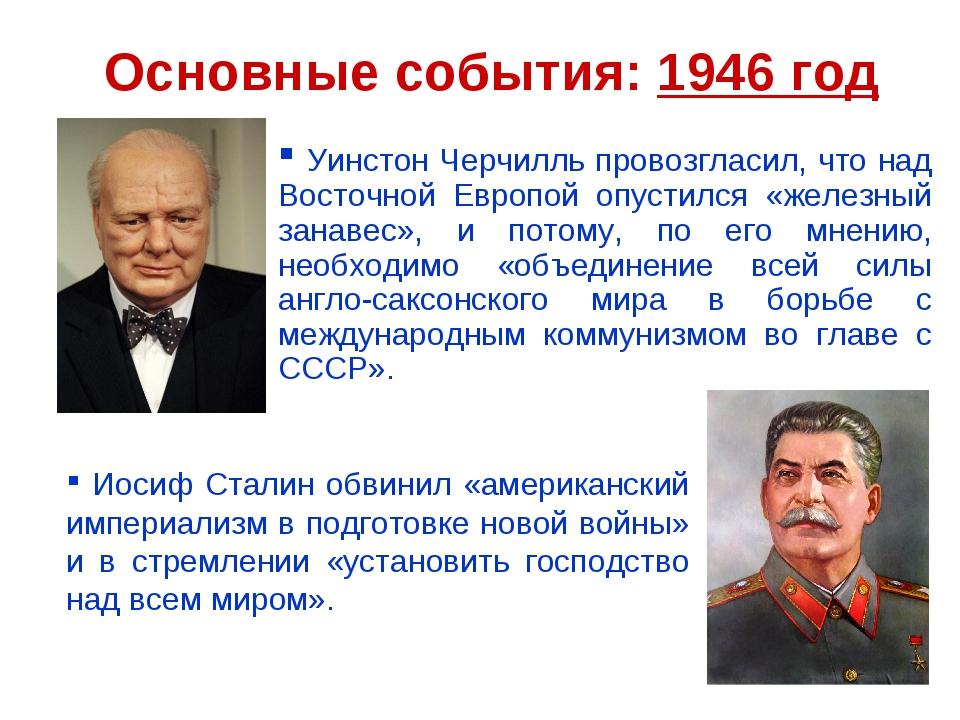 Основные события: 1946 год Уинстон Черчилль провозгласил, что над Восточной Е...