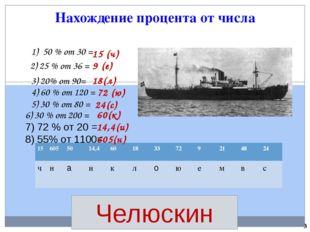 Нахождение процента от числа Челюскин 50 % от 30 = 2) 25 % от 36 = 3) 20% от