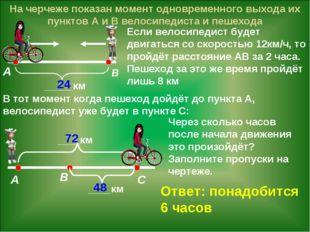На черчеже показан момент одновременного выхода их пунктов А и В велосипедист