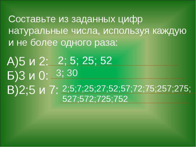 Составьте из заданных цифр натуральные числа, используя каждую и не более одн...