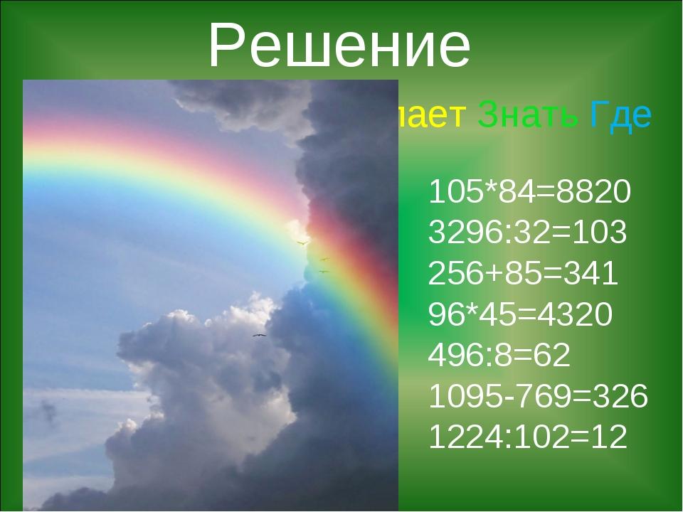 Каждый Охотник Желает Знать Где Сидит Фазан 105*84=8820 3296:32=103 256+85=34...
