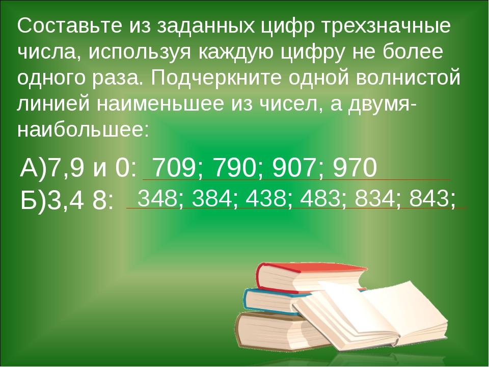 Составьте из заданных цифр трехзначные числа, используя каждую цифру не более...