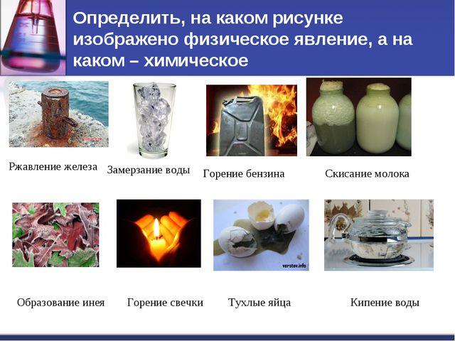 Определить, на каком рисунке изображено физическое явление, а на каком – хими...