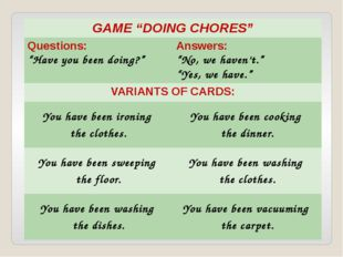 """GAME """"DOING CHORES"""" Questions: """"Have you beendoing?"""" Answers: """"No, we haven't"""