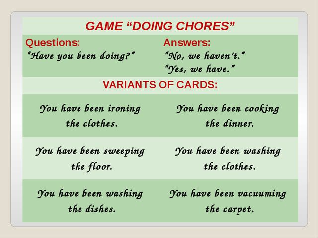 """GAME """"DOING CHORES"""" Questions: """"Have you beendoing?"""" Answers: """"No, we haven't..."""