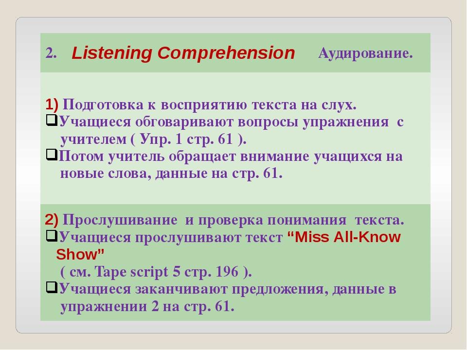 2. Listening Comprehension Аудирование. 1)Подготовка к восприятию текста на...