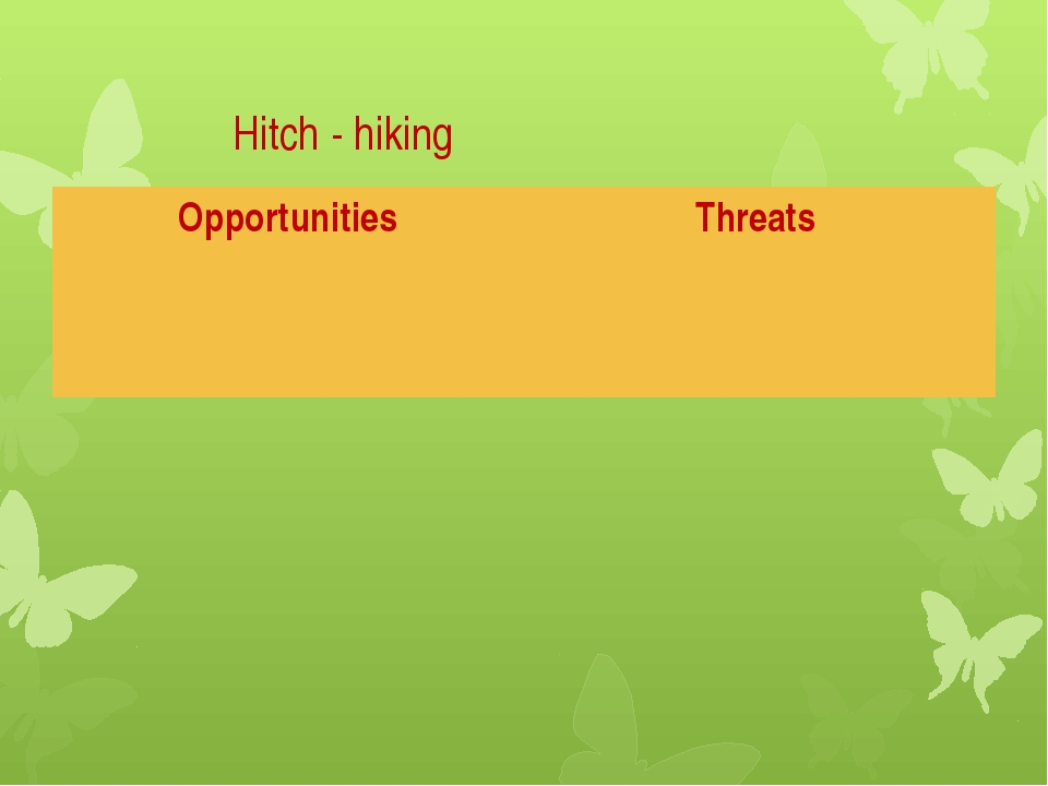 Hitch - hiking Opportunities Threats