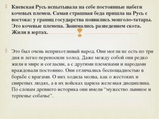 Киевская Русь испытывала на себе постоянные набеги кочевых племен. Самая стра