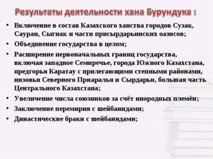 Включение в состав Казахского ханства городов Сузак, Сауран, Сыгнак и части п