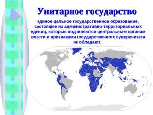 Унитарное государство единое цельное государственное образование, состоящее и
