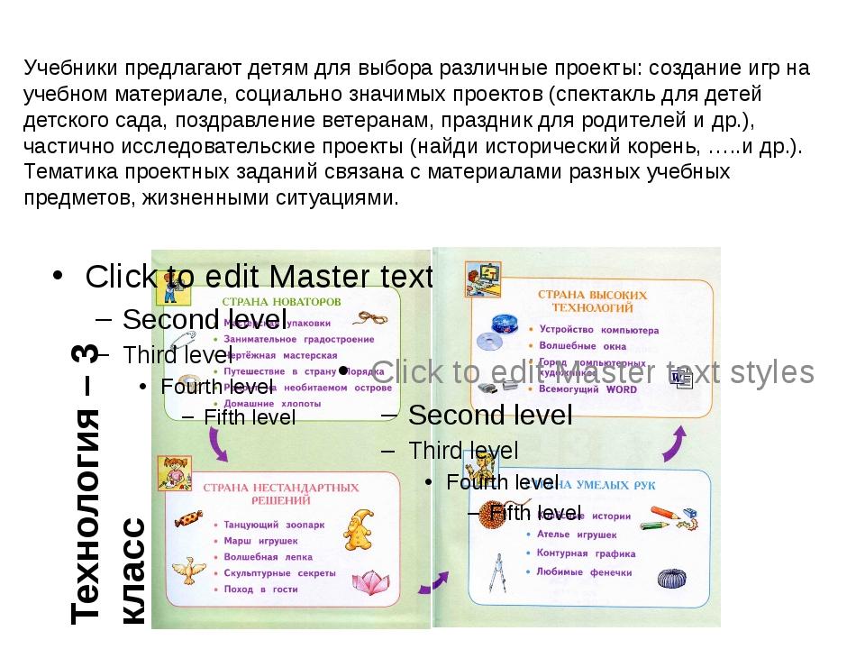 Учебники предлагают детям для выбора различные проекты: создание игр на учебн...