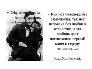 « Как нет человека без самолюбия, так нет человека без любви к отечеству, и э