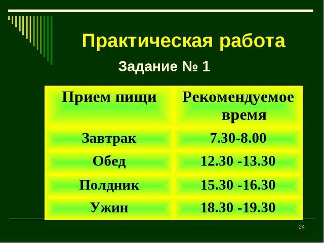 * Практическая работа Задание № 1 Прием пищиРекомендуемое время Завтрак7.30...