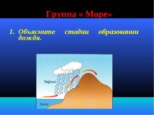 Группа « Море» Объясните стадии образовании дождя.