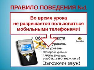 ПРАВИЛО ПОВЕДЕНИЯ №1 Во время урока не разрешается пользоваться мобильными те