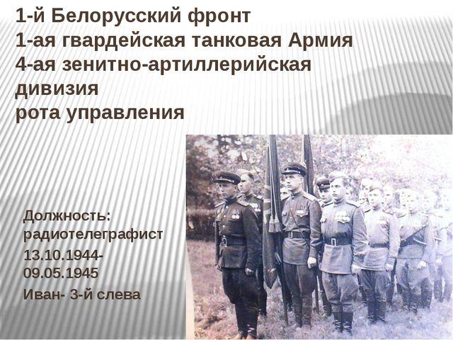 1-й Белорусский фронт 1-ая гвардейская танковая Армия 4-ая зенитно-артиллерий...