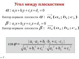 Угол между плоскостями Вектор нормали плоскости Вектор нормали плоскости