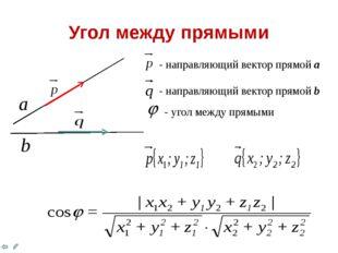 Угол между прямыми - направляющий вектор прямой а - направляющий вектор прям