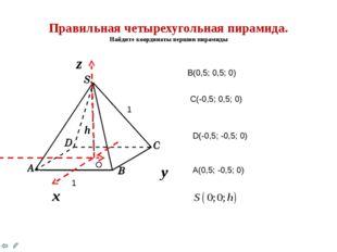 Правильная четырехугольная пирамида. Найдите координаты вершин пирамиды h х y