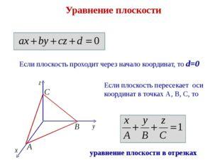 Уравнение плоскости Если плоскость проходит через начало координат, то d=0 Ес