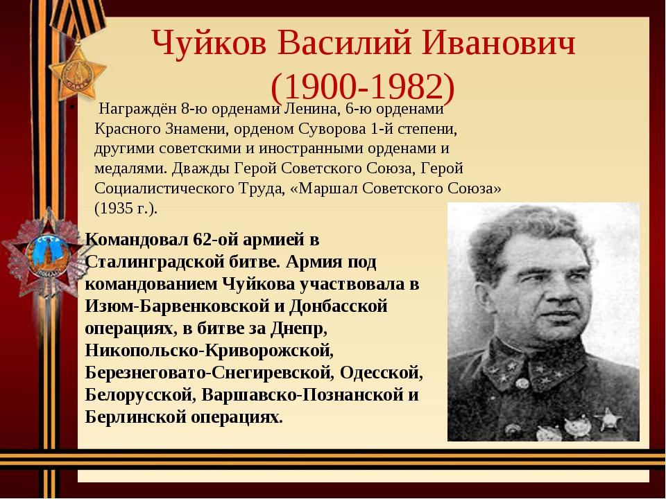 Чуйков Василий Иванович (1900-1982) Награждён 8-ю орденами Ленина, 6-ю орден...