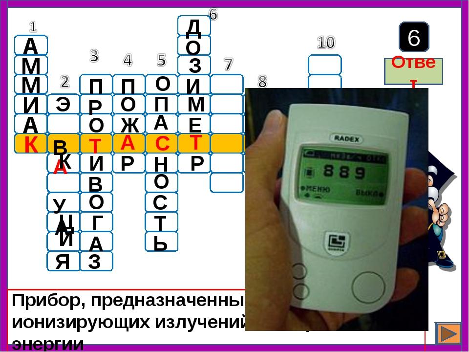 Прибор, предназначенный для измерения ионизирующих излучений, измерения их эн...