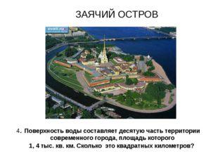 ЗАЯЧИЙ ОСТРОВ 4. Поверхность воды составляет десятую часть территории совреме