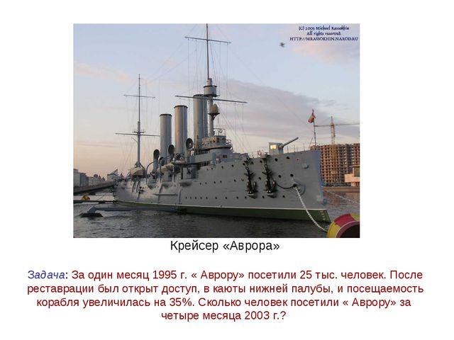 Крейсер «Аврора» Задача: За один месяц 1995 г. « Аврору» посетили 25 тыс. чел...