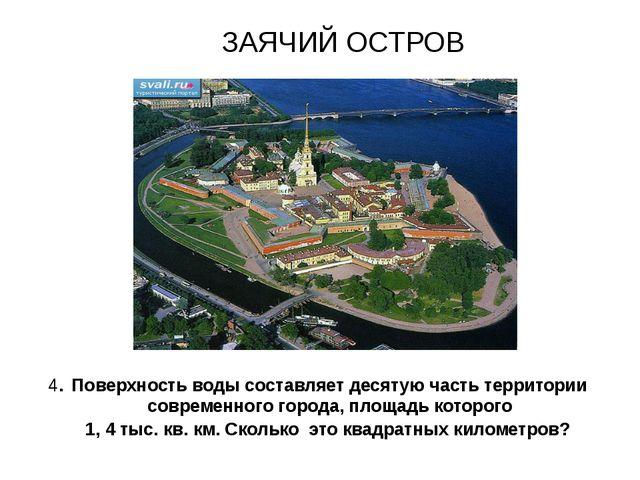 ЗАЯЧИЙ ОСТРОВ 4. Поверхность воды составляет десятую часть территории совреме...