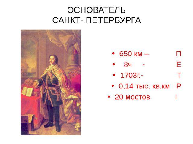 ОСНОВАТЕЛЬ САНКТ- ПЕТЕРБУРГА 650 км – П 8ч - Ё 1703г.- Т 0,14 тыс. кв.км Р 20...