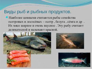 Виды рыб и рыбных продуктов. Наиболее ценными считаются рыбы семейства осетро