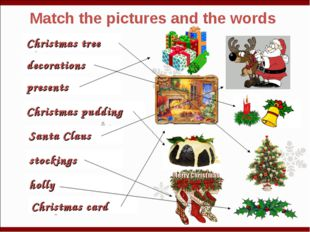 Match the pictures and the words Christmas tree decorations presents Christma