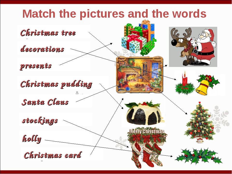 Match the pictures and the words Christmas tree decorations presents Christma...