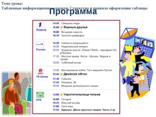 Программа телепередач Тема урока: Табличные информационные модели. Структура