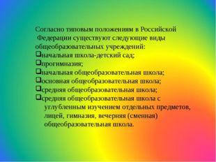 Согласно типовым положениям в Российской Федерации существуют следующие виды