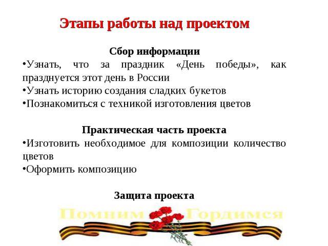 Этапы работы над проектом Сбор информации Узнать, что за праздник «День побед...