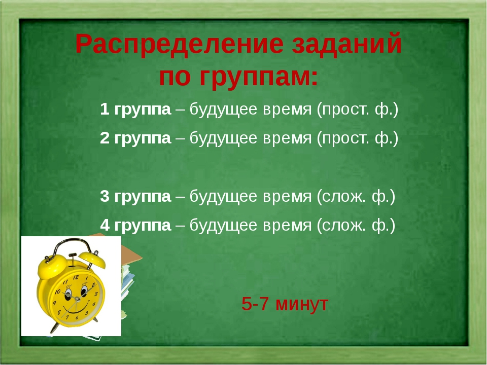 Распределение заданий по группам: 1 группа – будущее время (прост. ф.) 2 груп...