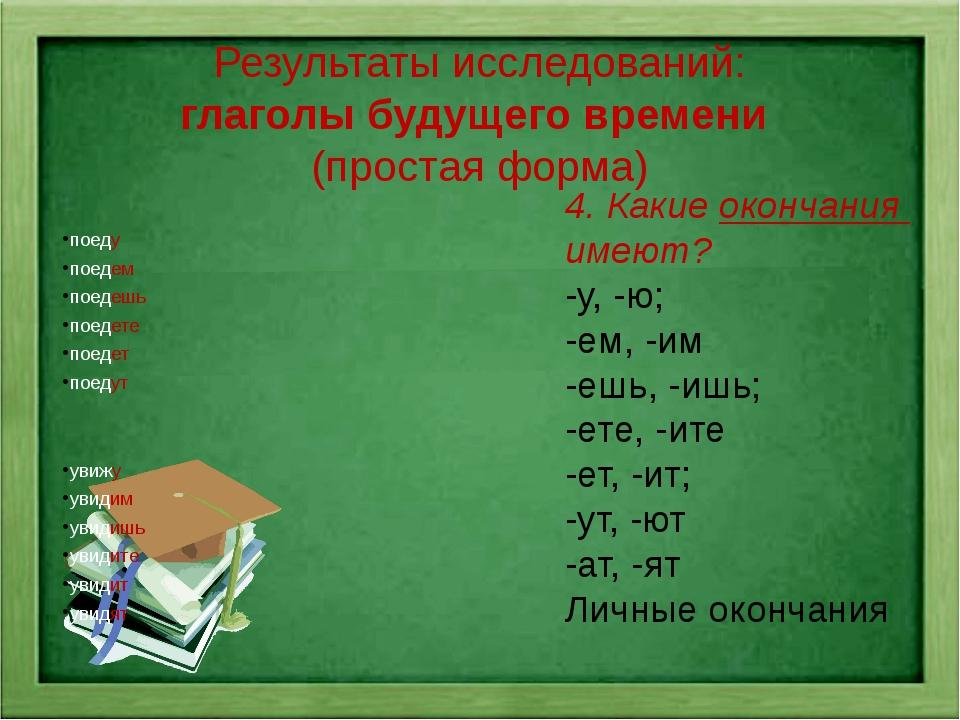 Результаты исследований: глаголы будущего времени (простая форма) поеду поеде...