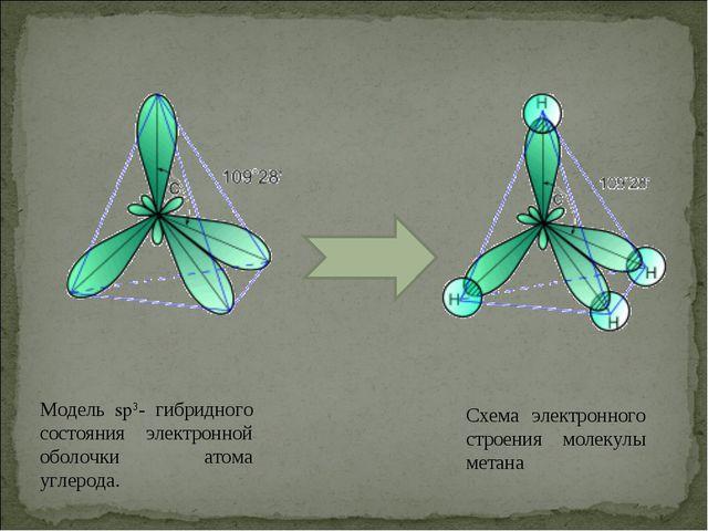 Модель sp3- гибридного состояния электронной оболочки атома углерода. Схема э...